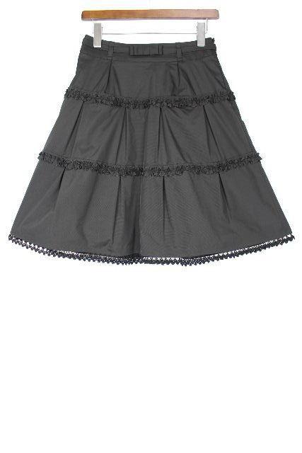 コトゥー [ COTOO ]リボン ベルト フレアースカート ブラック 黒 SIZE[38]レディース ボトムス ストレッチ スカート