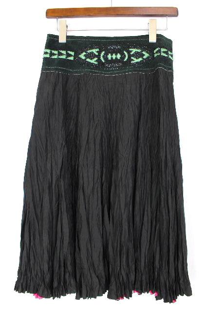 クラスロベルトカヴァリ [ CLASS roberto cavalli ] フリンジ ビーズ フレアースカート 黒 レディース プリーツスカート スカート