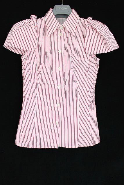 プラダ [ PRADA ] パワーショルダー フリル ストレッチブラウス SIZE[36] レディース シャツ 半袖 赤白
