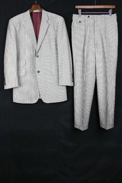ゼニア生地 [ Ermenegildo Zegna ] 2釦 ストライプ柄 シングルスーツ グレー SIZE[L相当] メンズ 紳士用 ジャケット スラックスパンツ