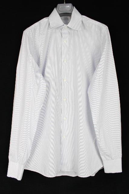 プラダ [ PRADA ] ストライプ柄 ワイシャツ 長袖 SIZE[38/15] メンズ トップス ドレスシャツ