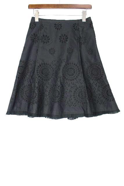 プラダ [ PRADA ] フラワー レース フレアースカート 紺色 SIZE[38]レディース ボトムス スカート