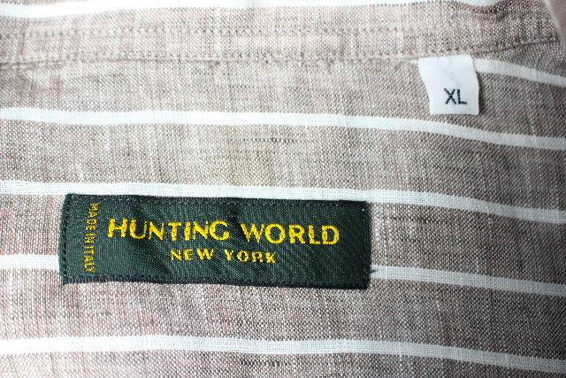 ハンティングワールド [ HUNTING WORLD ] リネン ストライプ カジュアルシャツ 半袖 SIZE[XL] メンズ トップス ブラウン麻 シャツ