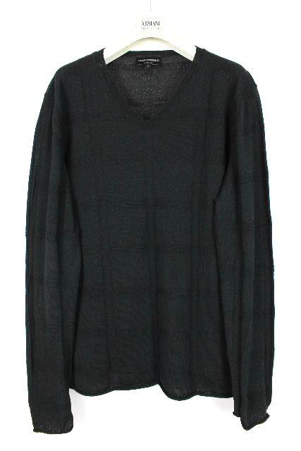 エンポリオアルマーニ [ EMPORIO ARMANI ] ブロックチェック柄 ニット セーター 黒 長袖 SIZE[52] メンズ トップス カットソー アルマーニ