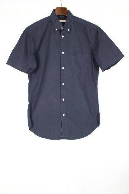 バーバリー [ BURBERRY BRIT ] ホースマーク カジュアル シャツ 半袖 紺色 SIZE[S P] メンズ トップス ボタンダウンシャツ チェック柄