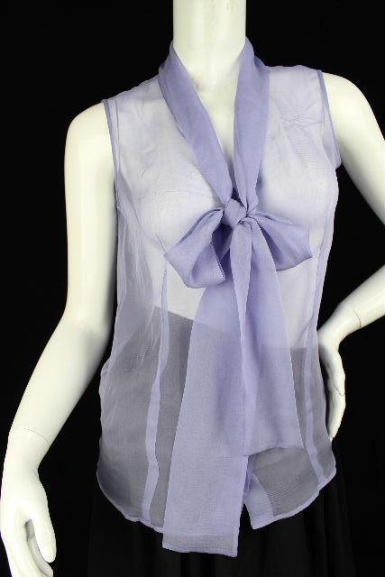 クリスチャンディオール [ Christian Dior ] シルク リボン シャツ ブラウス パープル 紫 レディース トップス ノースリーブ ディオール