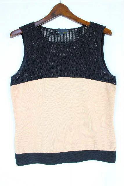 フェンディ [ FENDI ] バイカラー ノースリーブ カットソー SIZE[42] レディース ニット セーター ベージュ 黒