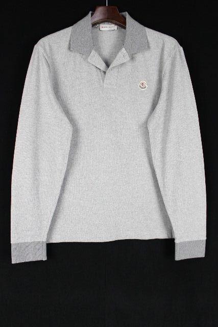 モンクレール [ MONCLER ] ワッペン ポロシャツ SlimFiot グレー 長袖 SIZE[L] メンズ トップス カットソー スリムフィット