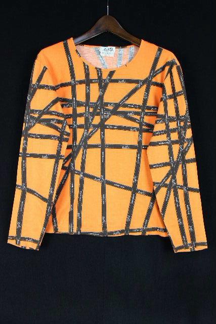 エルメス [ HERMES ] リボン柄 カットソー 長袖 オレンジ SIZE[M] レディース トップス Tシャツ