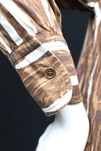 マルニ [ MARNI ] ノーカラー シャツ ブラウス 長袖 SIZE[38] レディース トップス 柄物 白 茶色