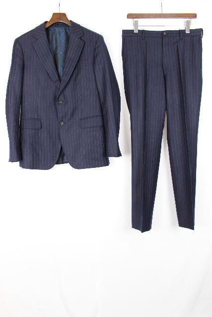 タケオキクチ×ゼニア [ TAKEO KIKUCHI ] ストライプ 2ボタン シングル スーツ 紺色 SIZE[3] メンズ ジャケット スラックスパンツ キクチタケオ