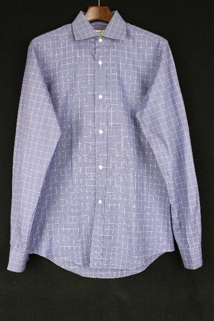 エルメス [ HERMES ] チェック柄 セリエボタン シャツ ブルー 長袖 SIZE[38/15] メンズ トップス セリエ