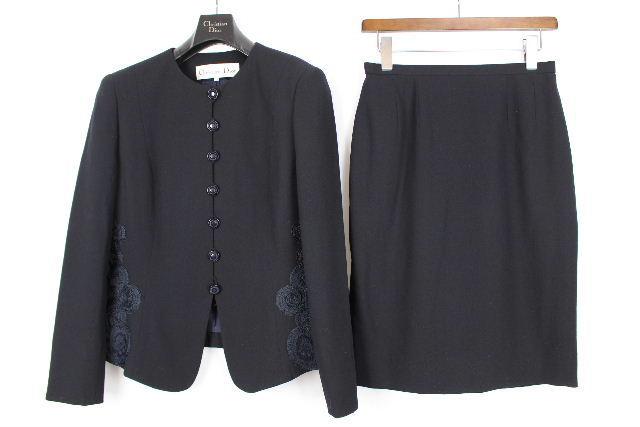 クリスチャンディオール [ Christian Dior ] レース セットアップ スーツ ネイビー 紺色 SIZE[2] レディース ノーカラージャケット スカート