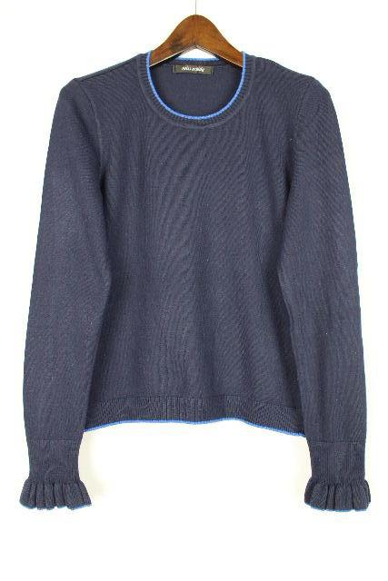 ミスアシダ [ miss ashida ] フリル襟 ニット カットソー ネイビー 紺色 長袖 SIZE[M] レディース トップス セーター ジュンアシダ