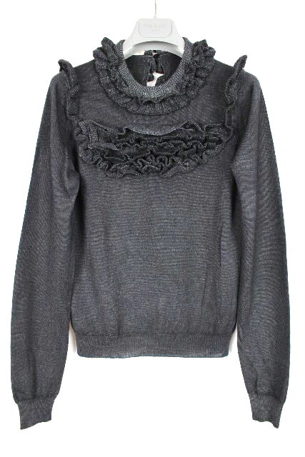 プラダ [ PRADA ] フリル ニット セーター ブラック 黒系 長袖 SIZE[40] レディース トップス