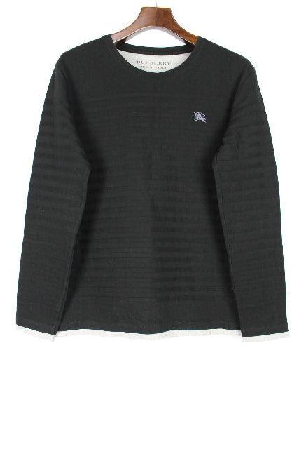 バーバリーブラックレーベル [ BURBERRY ] 重ね着風 カットソー 黒 長袖 SIZE[3] メンズ ロンT ロングTシャツ