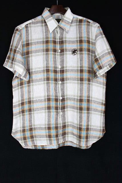 ハンティングワールド [ HUNTING WORLD ] リボン チェック柄 ボタンダウンシャツ 半袖 SIZE[XL] メンズ トップス カジュアルシャツ