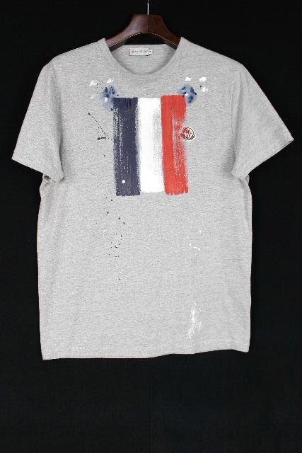 モンクレール [ MONCLER ] ワッペン トリコロール Tシャツ グレー 半袖 SIZE[M] メンズ ティーシャツ カットソー