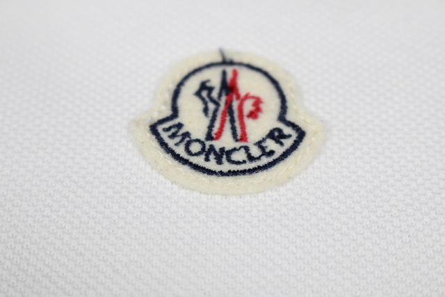 モンクレール [ MONCLER ] ボーダー ワッペン ポロシャツ ホワイト 白 半袖 SIZE[L] メンズ トップス カットソー