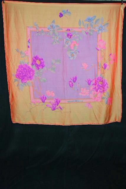 レオナール [ LEONARD ] 大判 ロゴ シルク フラワー ストール ショール スカーフ レディース 花柄