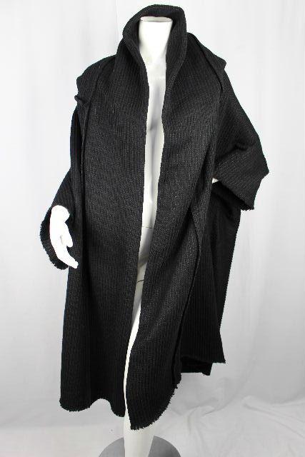 Y's / ヨウジヤマモト [ ワイズ ] フード ニット ロングカーディガン ブラック 黒 SIZE[2] レディース ポンチョ コート カーデ