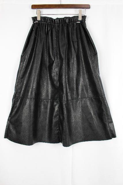 MM6 マルタンマルジェラ [ Margiela ] エコレザー ミモレ スカート ブラック 黒 SIZE[36] レディース ボトムス フレアースカート メゾンマルジェラ