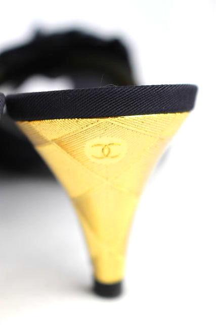 シャネル [ CHANEL ] 11P CC×カメリア フラワー サンダル 黒 SIZE[36.5C] レディース ヒール ミュール ブラック