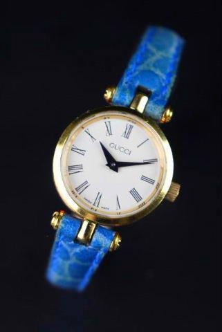 グッチ [ GUCCI ] シェリーライン クォーツ 腕時計 ブルー×ゴールド金具 レディース ウオッチ 電池式 [10RFS]