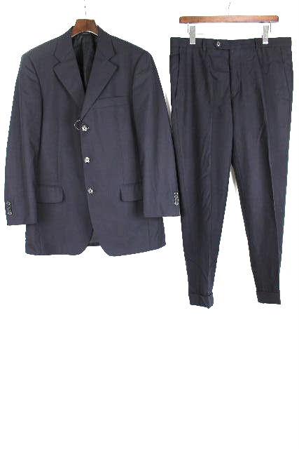 フェラガモ [ FERAGAMO ] SUPER 100S 3つボタン シングル スーツ 紺色 SIZE[48] メンズ ジャケット セットアップ スラックスパンツ