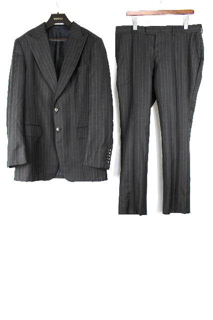 グッチ [ GUCCI ] 2つボタン ストライプ シングル スーツ SIZE[52L] メンズ 紳士用 ジャケット スラックスパンツ