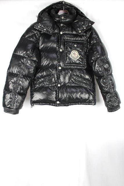 モンクレール [ MONCLER ] ダウンジャケット ブラック 黒 K2 SIZE[0] メンズ シャイニー デカワッペンパーカ フード