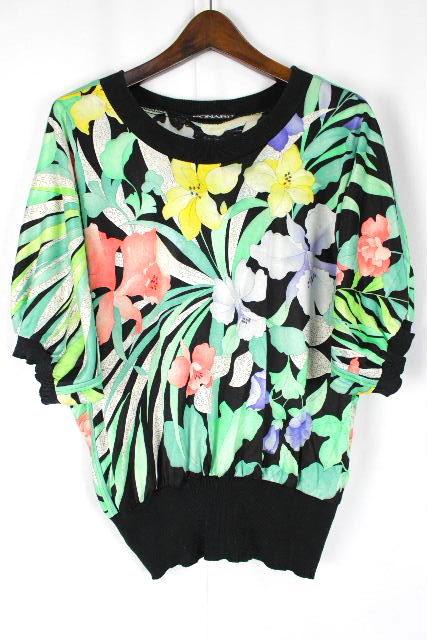 レオナール [ LEONARD ] フラワー プルオーバー カットソー ブラック 黒 半袖 SIZE[M] レディース トップス 花柄