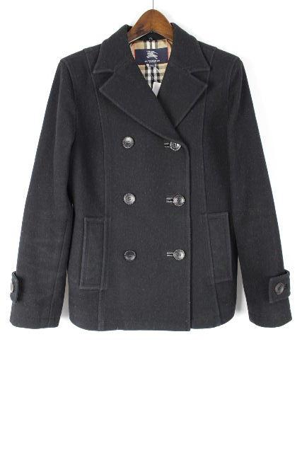 バーバリーロンドン [ BURBERRY ] Pコート ブラック 黒×チェック柄 SIZE[M相当(目安)] レディース ピーコート ジャケット バーバリー