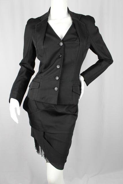 クリスチャンディオール [ Christian Dior ] ストレッチ セットアップ スーツ ブラック 黒 レディース ジャケット スカート ディオール