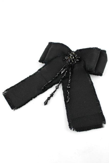 グッチ [ GUCCI ] ビジュー リボン ブローチ ブラック 黒