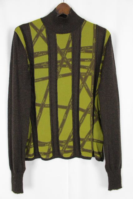 エルメス [ HERMES ] リボン柄 ハイネック カシミヤ セーター 茶色 長袖 SIZE[SM] レディース トップス ニット