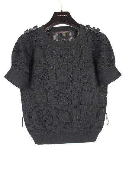 ルイヴィトン [ LOUISVUITTON ] ベルト フラワー ニット セーター ブラック 黒 半袖 SIZE[S] レディース トップス カットソー