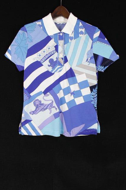 レオナール [ LEONARD ] ロゴ 幾何学模様 ポロシャツ ブルー 半袖 SIZE[38] レディース トップス カットソー