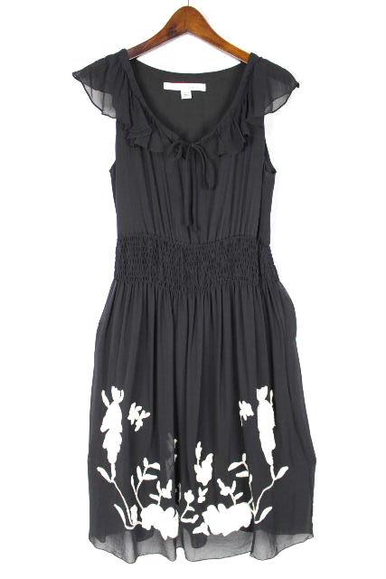 ダイアンフォンファステンバーグ [ DIANE ] フラワー刺繡 フリル フレアー ワンピース 黒 SIZE[2] レディース ワンピ 花柄