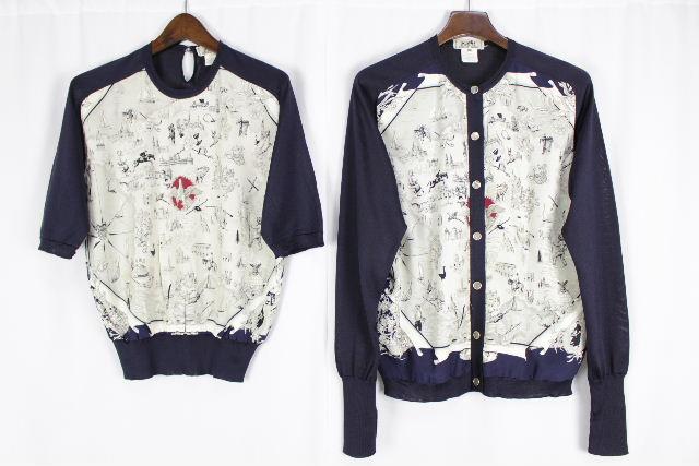 エルメス [ HERMES ] ヴィンテージ スカーフ アンサンブル ニット 紺色 レディース カーディガン カットソー セーター