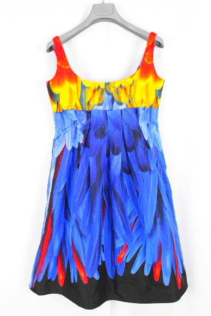 プラダ [ PRADA ] ロゴ フラワー フレアーワンピース ブルー系 SIZE[40] レディース プリーツ ワンピ 花柄