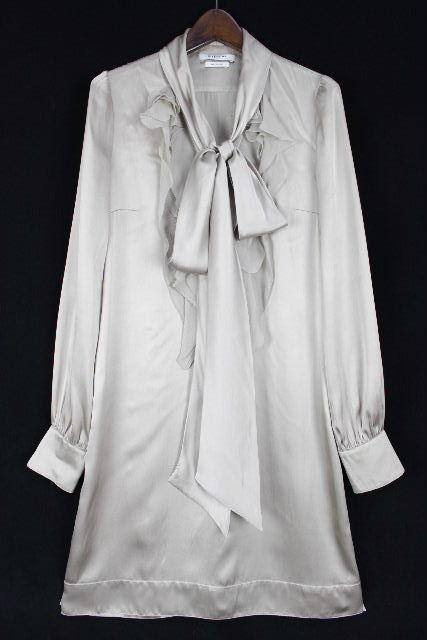 ジバンシイ [ GIVENCHY ] シルク フリル リボン シャツ ワンピース グレー系 SIZE[36] レディース ジバンシー ワンピ