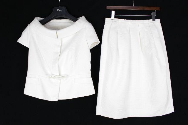 クリスチャンディオール [ Christian Dior ] リボン セットアップ スーツ ホワイト 白 レディース ジャケット スカート ディオール