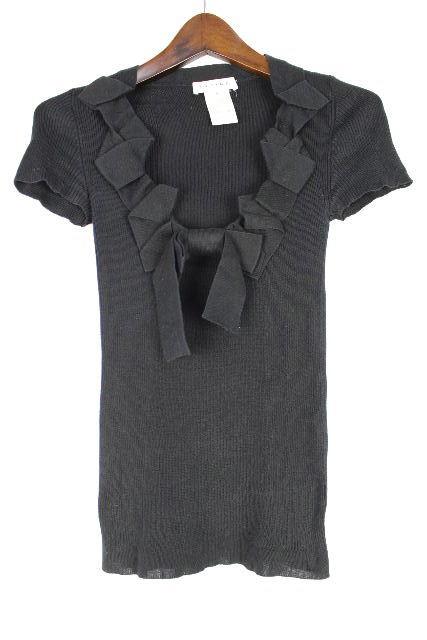 セリーヌ [ CELINE ] リボン ニット カットソー ブラック 黒 半袖 SIZE[S] レディース トップス セーター