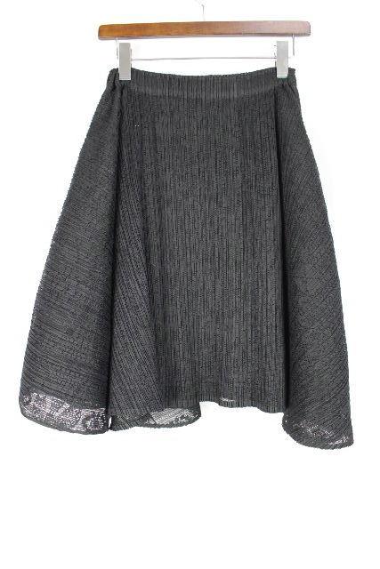 イッセイミヤケ プリーツプリーズ [ PLEATS PLEASE ] レース フレアースカート ブラック 黒 SIZE[3] レディース ボトムス スカート