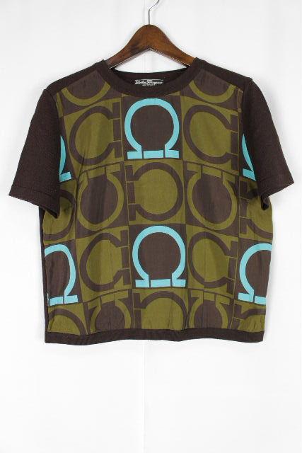 フェラガモ [ Ferragamo ] ガンチーニ シルク スカーフ ニット セーター 半袖 SIZE[S] レディース トップス ブラウン 茶色