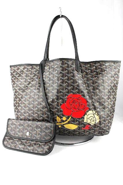 ゴヤール [ GOYARD ] サンルイトートバッグ PM ブラック 黒 ポーチ付き レディース イニシャルM バラ 薔薇柄 マーカージュ