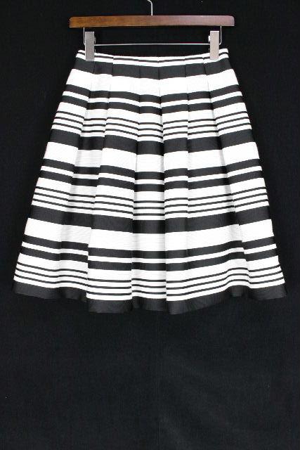 エムズグレイシー [ MS GRACY ] ボーダー フレアースカート 黒 白 SIZE[36] レディース ボトムス スカート