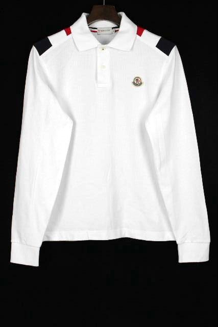 モンクレール [ MONCLER ] トリコロール ワッペン ポロシャツ 白 長袖 SLIM FIT SIZE[S] メンズ トップス カットソー