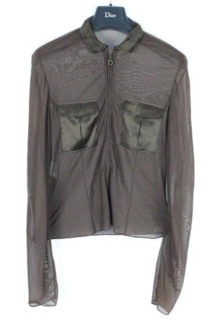 クリスチャンディオール [ Christian Dior ] Dロゴ ジップアップ シースルー ブラウス 茶色 長袖 レディース シャツ カーディガン ジャケット ディオール